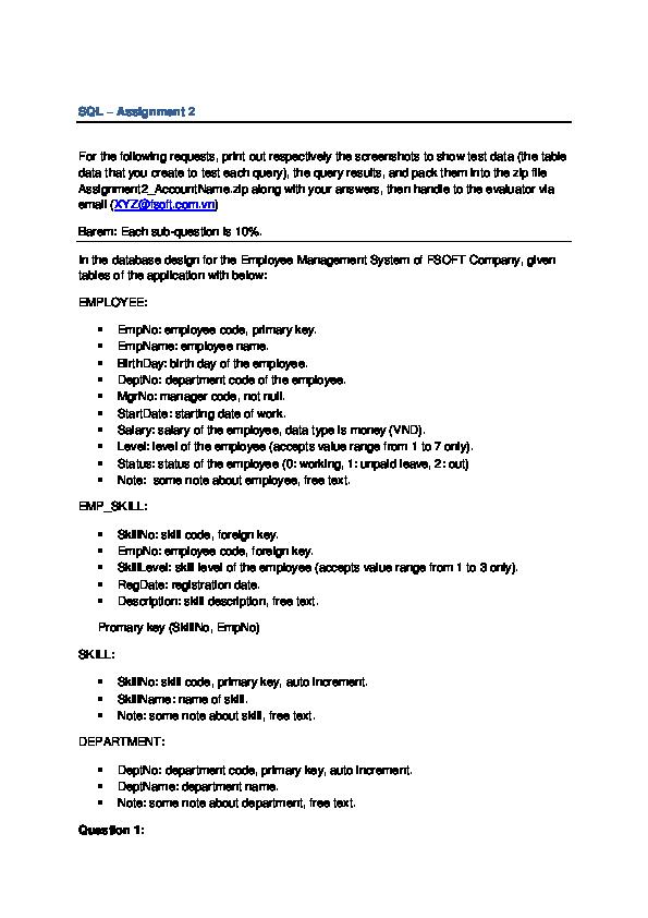 DOC) SQL – Assignment 2 | Tuấn Trần - Academia edu