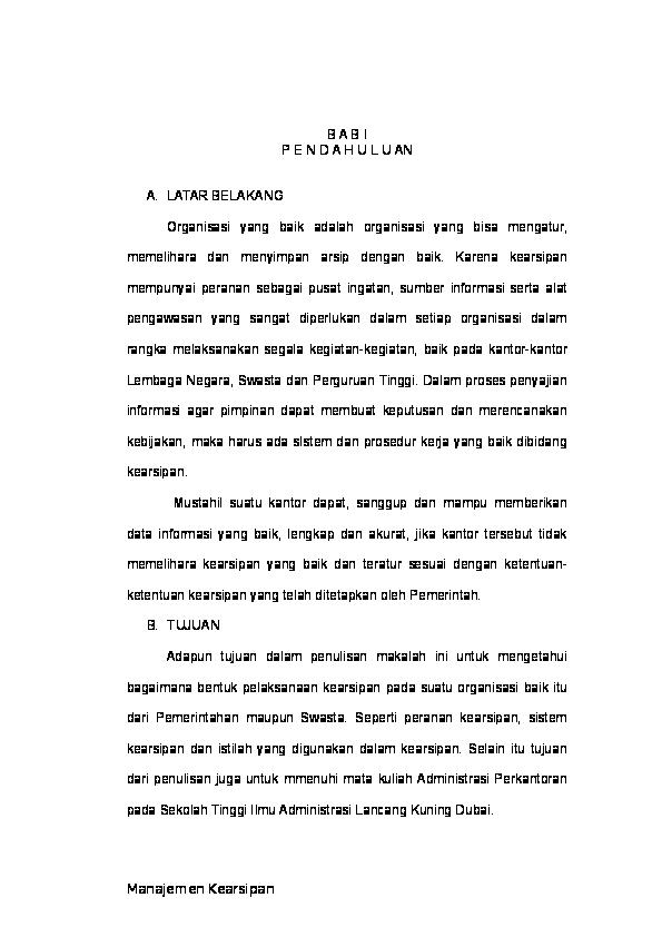 Doc Makalah Kearsipan By Chikuma Asari B A B I P E N D A H U L U An Chikuma Asari Academia Edu