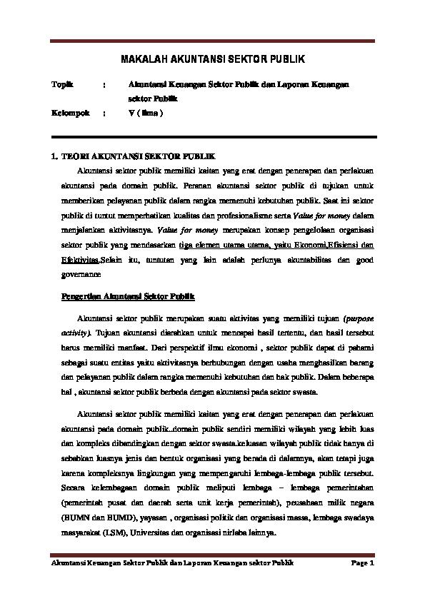 Doc Makalah Akuntansi Sektor Publik Nugroho Susanto Academia Edu