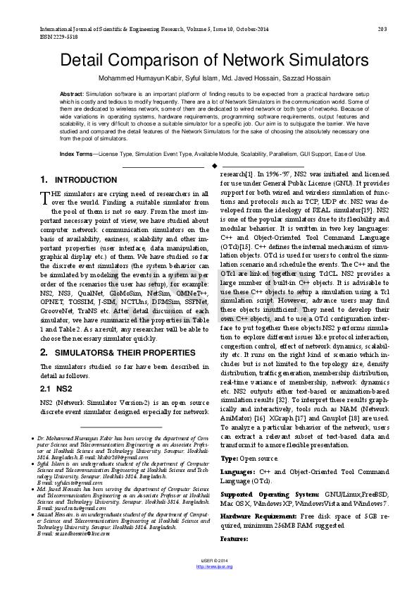 PDF) Detail Comparison of Network Simulators | Syful Islam