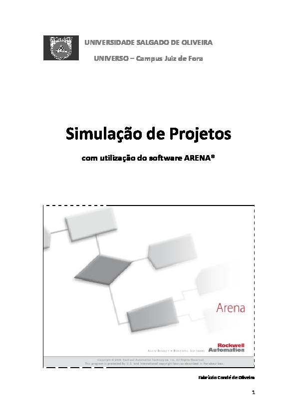 PDF) Simulação de Projeto com utilização do software ARENA