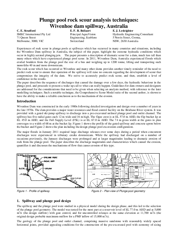 PDF) Plunge pool rock scour analysis techniques: Wivenhoe Dam
