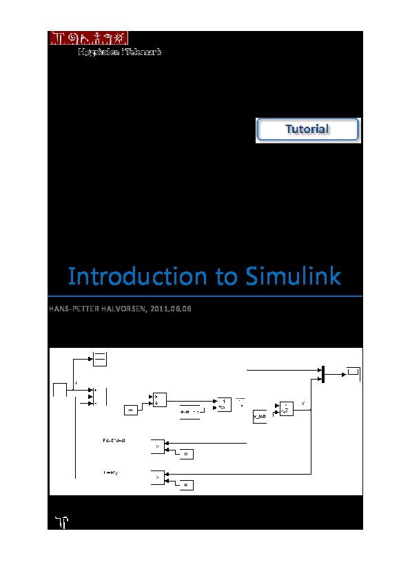 PDF) Introduction to Simulink | Raymond Jyrwa - Academia edu