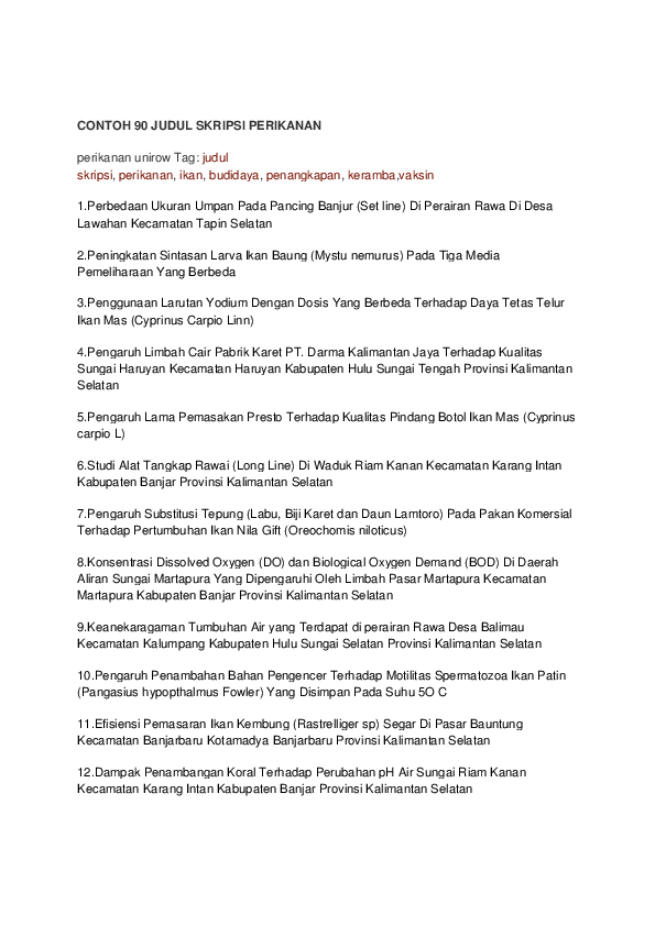 Pdf Contoh 90 Judul Skripsi Perikanan Kim Khan Academia Edu
