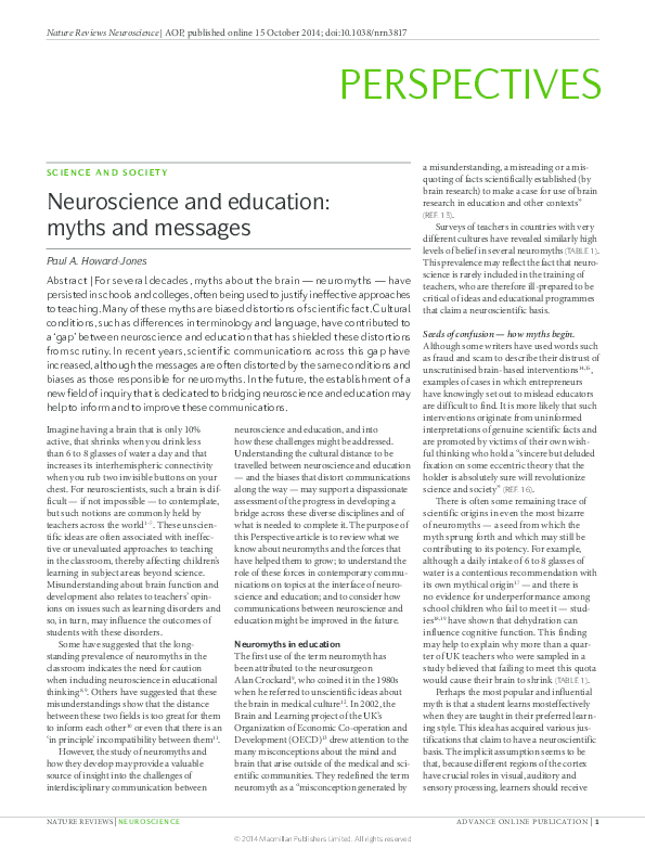 The High Cost Of Neuromyths In Education >> Pdf Neuroscience And Education Myths And Messages Ozge Karakus