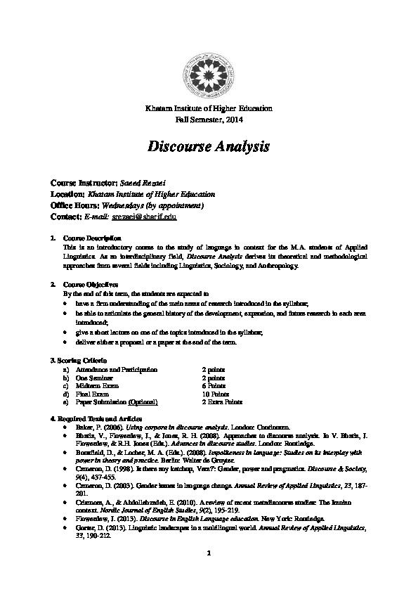 PDF) Discourse Analysis | Saeed Rezaei - Academia edu