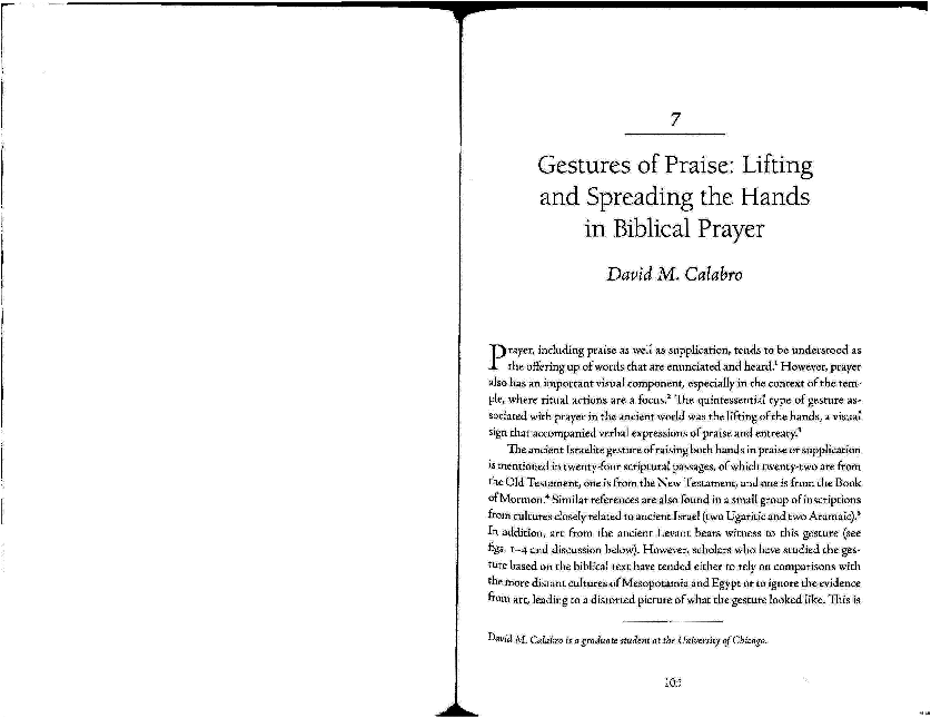 PDF) Gestures of Praise: Lifting and Spreading the Hands in