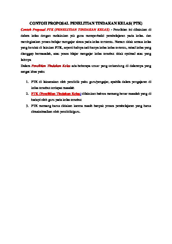 Doc Contoh Proposal Penelitian Tindakan Kelas Ptk Al Kahfi Hariadi Academia Edu