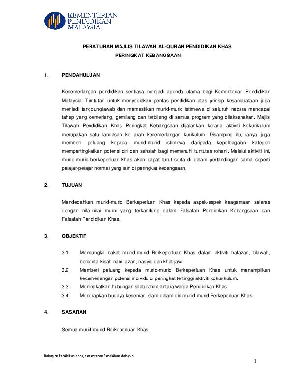 Pdf Peraturan Majlis Tilawah Al Quran Pendidikan Khas Sistem