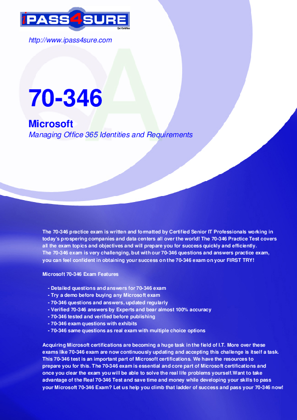 PDF) 70-346 Microsoft Managing Office 365 Identities and