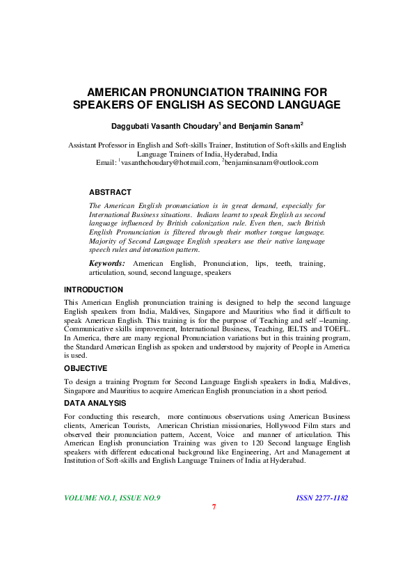 PDF) AMERICAN PRONUNCIATION TRAINING FOR SPEAKERS OF ENGLISH AS
