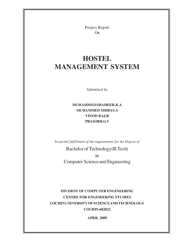 PDF) Project Report On HOSTEL MANAGEMENT SYSTEM Submitted by