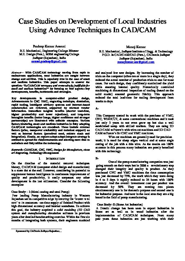PDF) Case Studies on Development of Local Industries Using