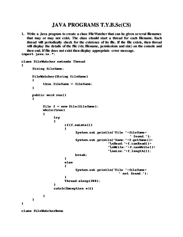 PDF) JAVA PROGRAMS T Y B Sc(CS | Manoj Bhosale - Academia edu
