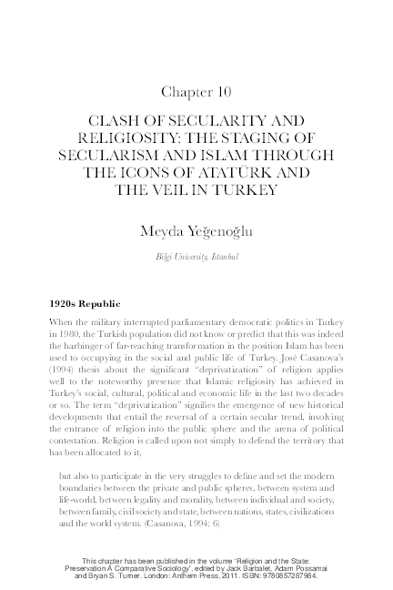 PDF) Clash of Secularity and Religiosity: Staging Secularism