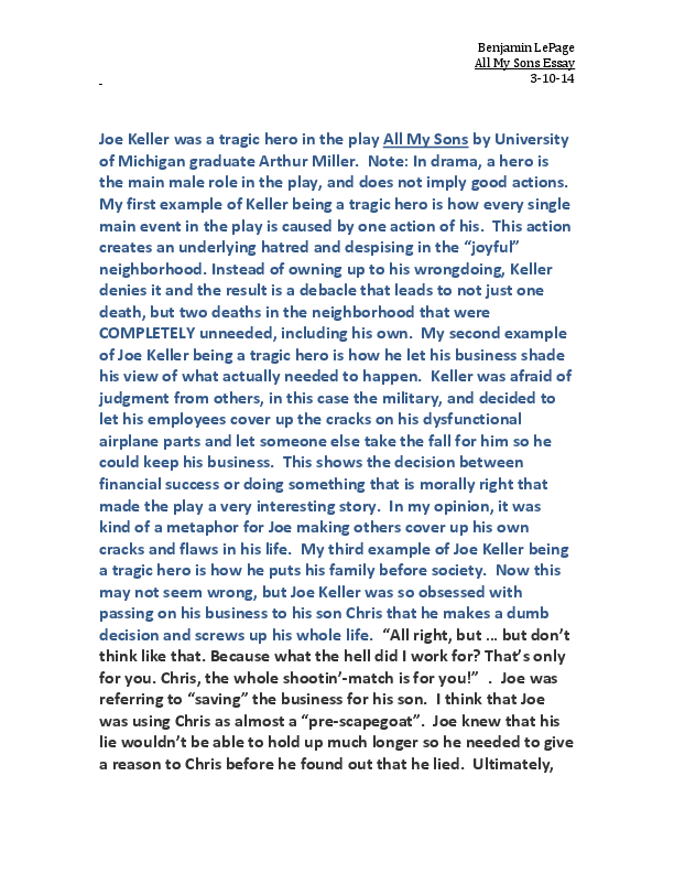 Essays On High School Docx Compare Contrast Essay Examples High School also Sample English Essay Joe Keller Was A Tragic Hero In The Play All My Sons  Benjamin  Top English Essays
