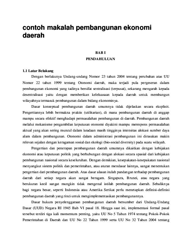 Doc Contoh Makalah Pembangunan Ekonomi Daerah Dea Trishnanti Academia Edu