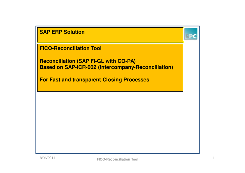 PDF) FICO-Reconciliation Tool Reconciliation (SAP FI-GL with CO-PA