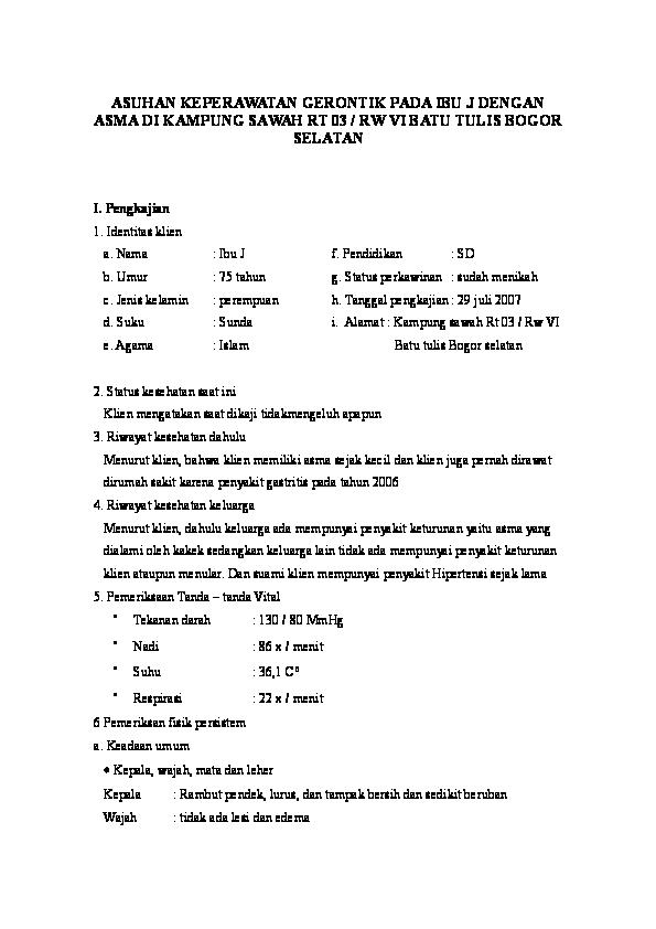 Doc Asuhan Keperawatan Gerontik Pada Ibu J Dengan Asma Di Kampung Sawah Rt 03 Rw Vi Batu Tulis Bogor Selatan Agung Rudiansyah Academia Edu