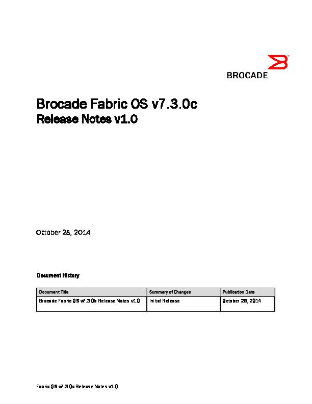 PDF) Brocade Fabric OS v7 3 0 release notes | Nicolas Bazaes
