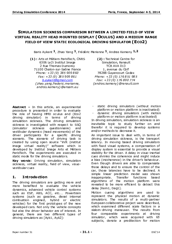 PDF) Simulation sickness comparison between a limited field