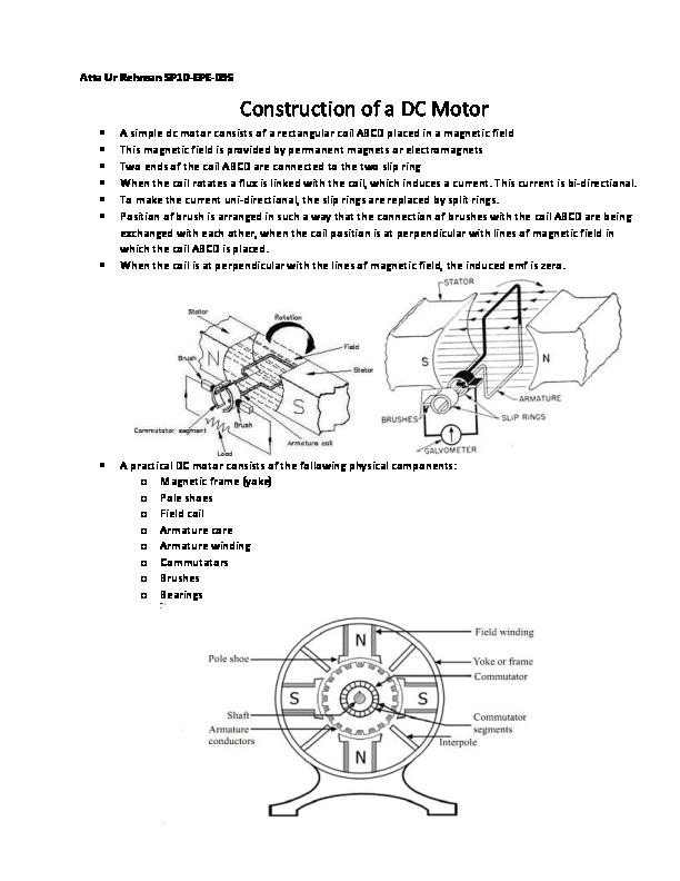 PDF) Construction of DC Motor | Engr AttaurRehman - Academia edu
