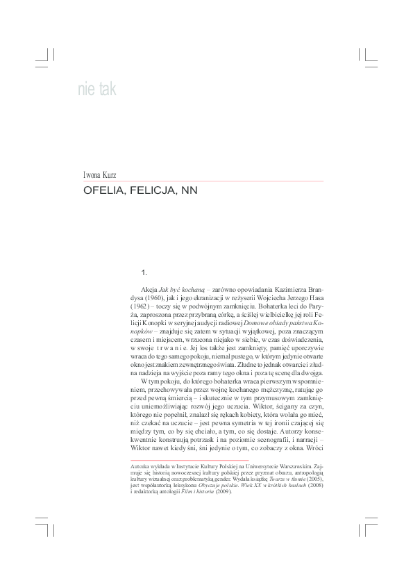 Pdf Ofelia Felicja Nn Iwona Kurz Academiaedu