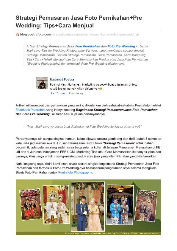 Pdf Strategi Pemasaran Jasa Foto Pernikahan Foto Pre Wedding Tips Cara Menjual Mishbahul Munir Poetrafoto Photography Academia Edu