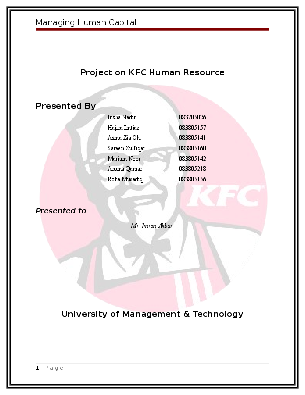 DOC) Project on KFC Human Resource presented by anwarpasha