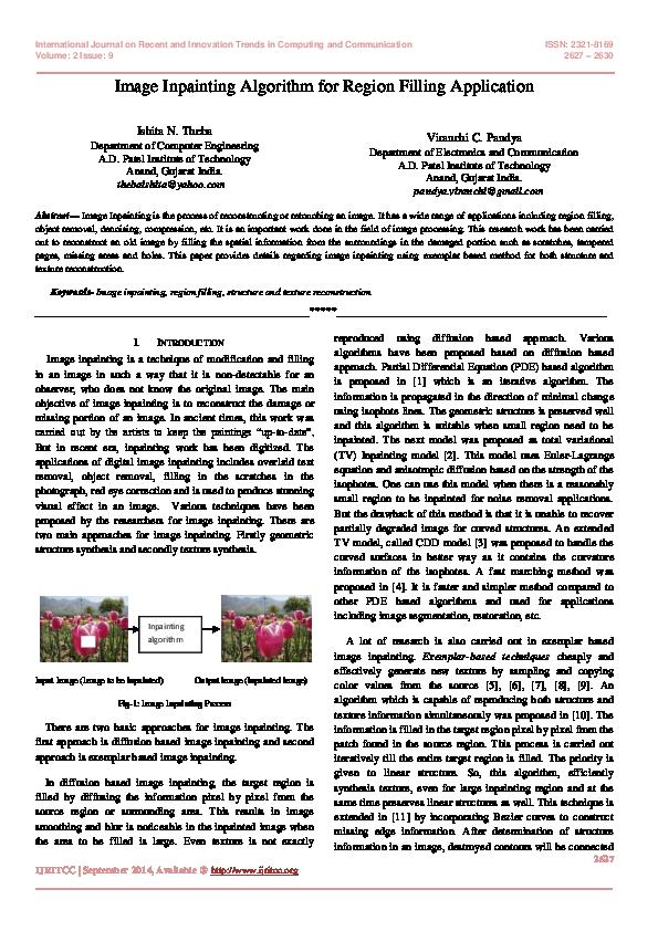 PDF) Image Inpainting Algorithm for Region Filling