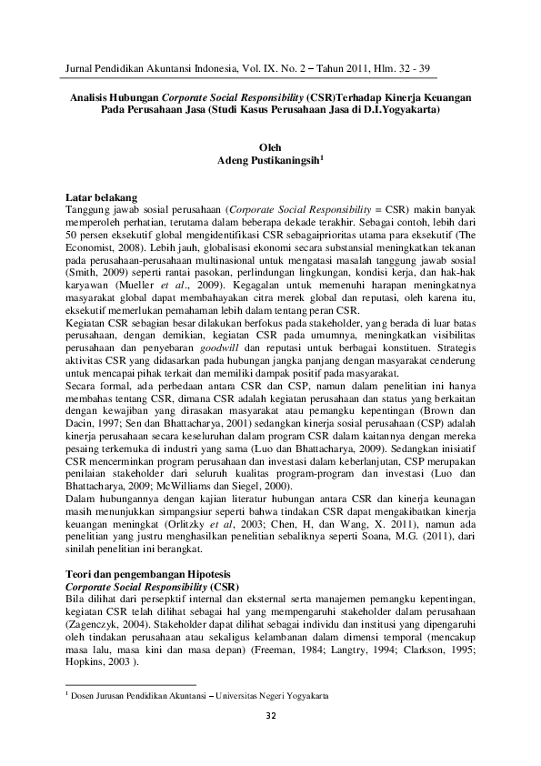 Pdf Analisis Hubungan Corporate Social Responsibility Csr Terhadap Kinerja Keuangan Pada Perusahaan Jasa Studi Kasus Perusahaan Jasa Di D I Yogyakarta Tsi Kechield Academia Edu
