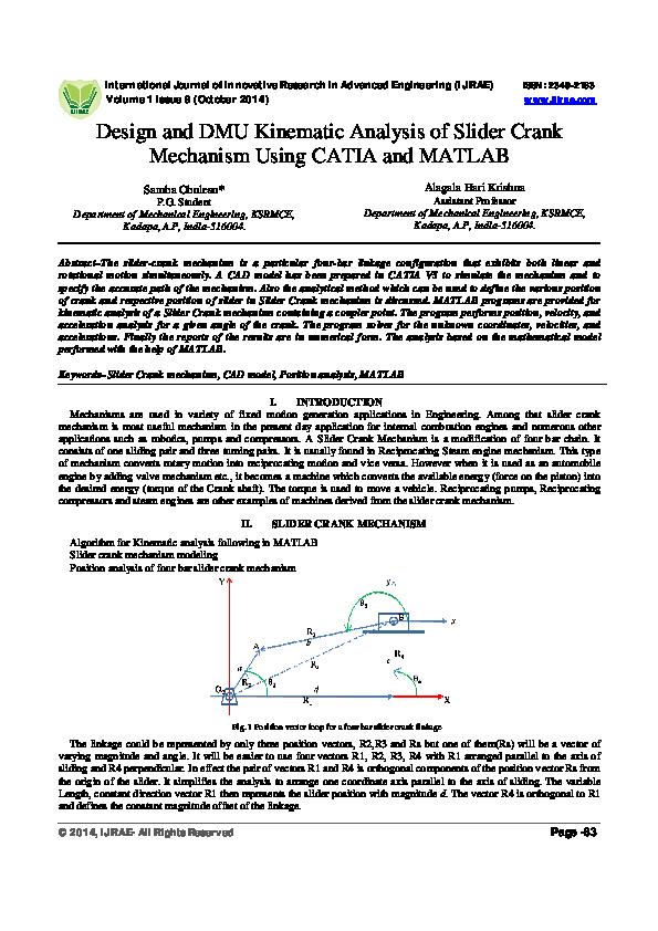 PDF) IJIRAE:: Design and DMU Kinematic Analysis of Slider