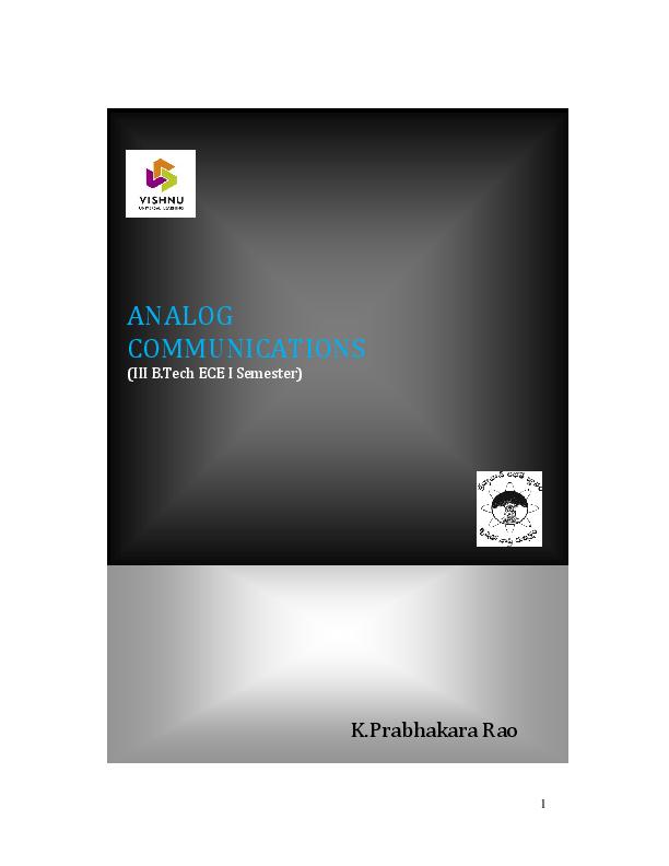 PDF) ANALOG COMMUNICATIONS (III B Tech ECE I Semester