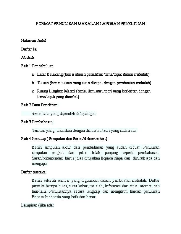 Doc Format Penulisan Makalah Laporan Penelitian Fatih Ilyas Academia Edu