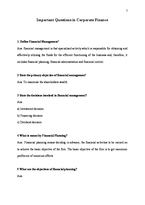 PDF) Important Questions in Corporate Finance 1  Define