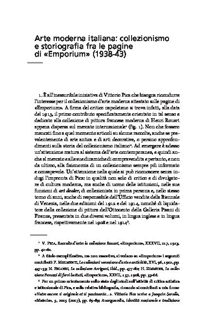 Arte Moderna Italiana Collezionismo E Storiografia Fra Le