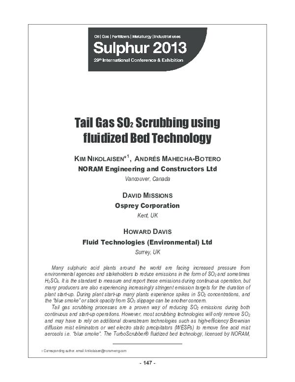 PDF) Tail Gas SO2 Scrubbing using fluidized Bed Technology   zahira