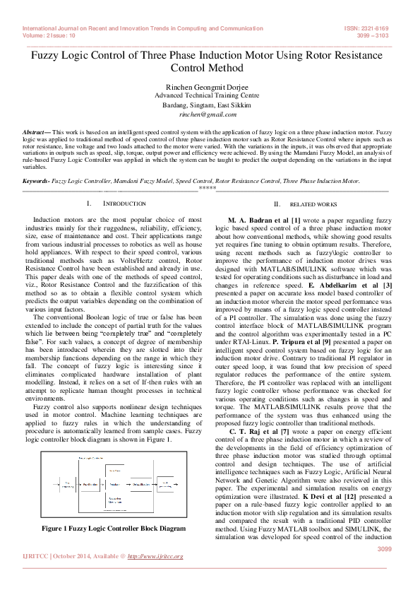 PDF) Fuzzy Logic Control of Three Phase Induction Motor