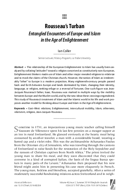 PDF) Rousseau's Turban: Entangled Encounters of Europe and Islam in