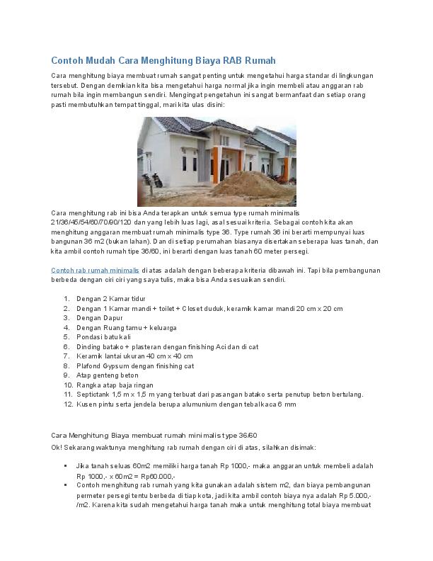 Rab Rumah Type 45 Excel 2020 / 49+ Info Baru Rab Rumah ...
