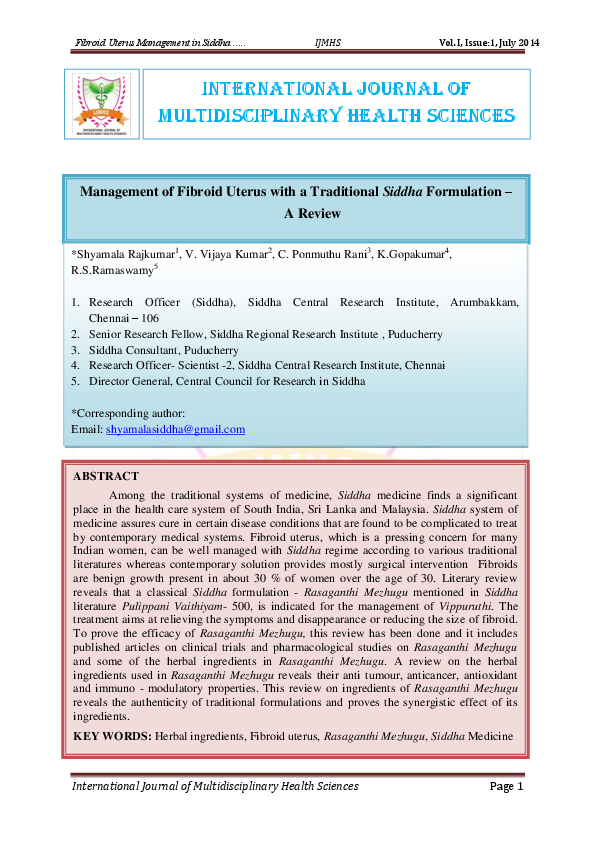 PDF) Management of Fibroid Uterus with a Traditional Siddha