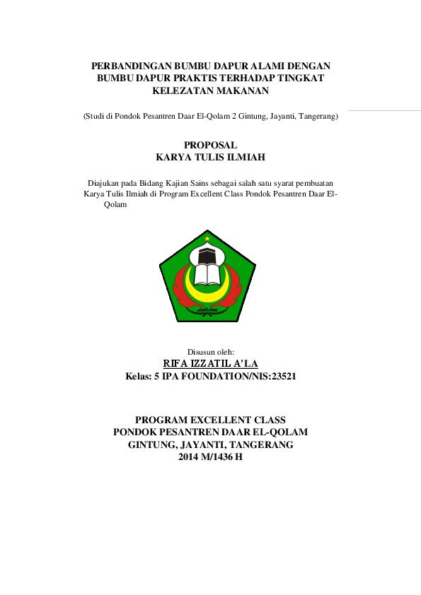 Doc Proposal Kti Dhila Alkautsar Academia Edu
