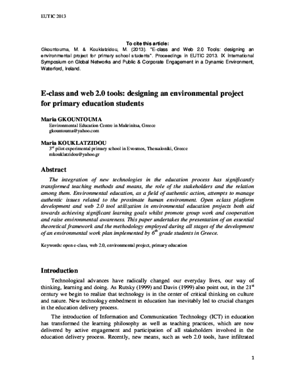 DOC) E-class and Web 2 0 Tools: designing an environmental