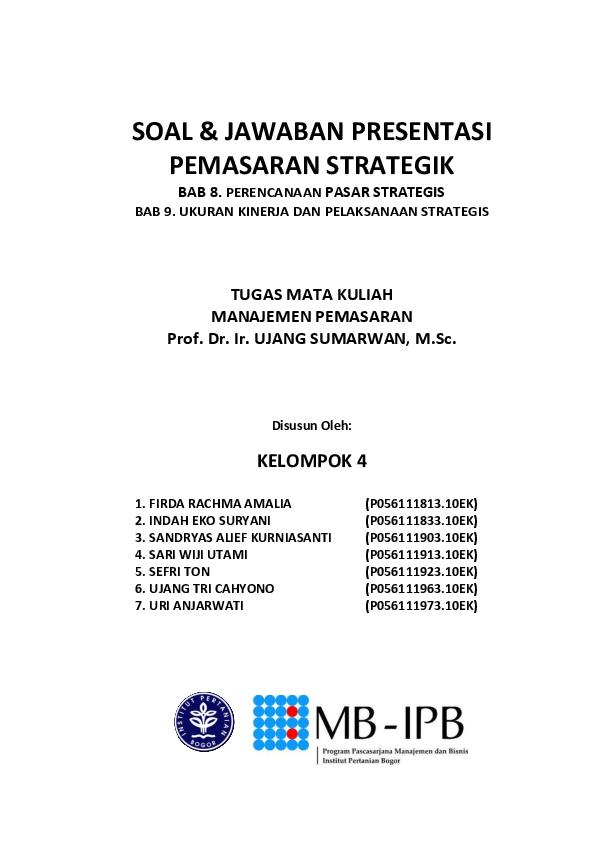 Doc Soal Jawaban Presentasi Pemasaran Strategik Herni Desriyani Academia Edu