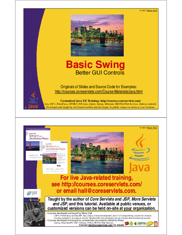 PDF) 2013 Marty Hall Basic Swing 2 Better GUI Controls