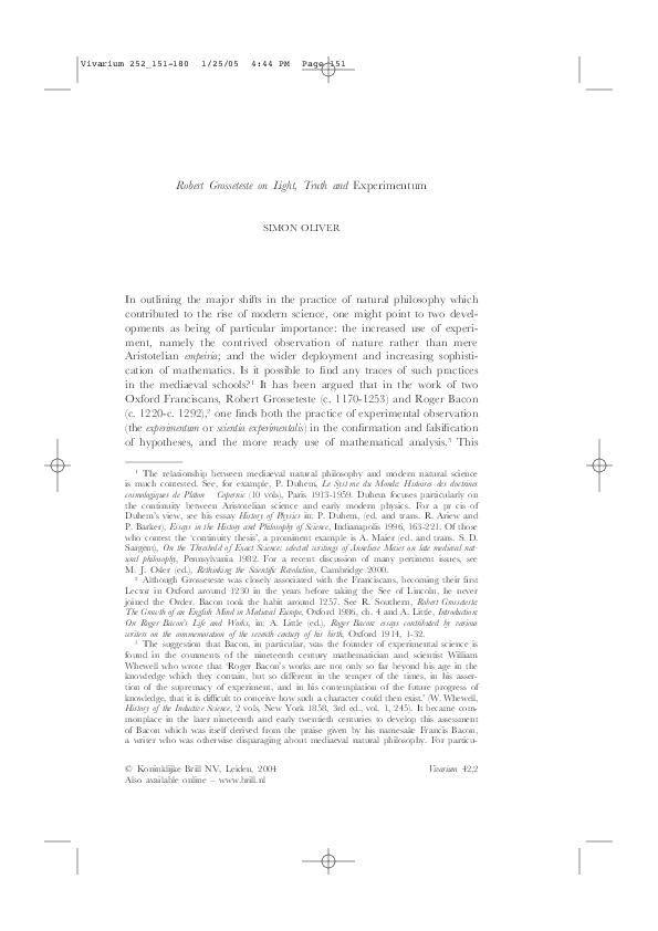 PDF) Robert Grosseteste on Light, Truth and Experimentum