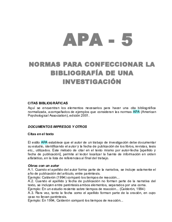 Doc Apa 5 Normas Para Confeccionar La Bibliografía De Una