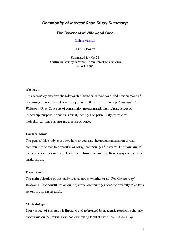 PDF) Vritual Communities - a case study | Kim Falconer - Academia edu