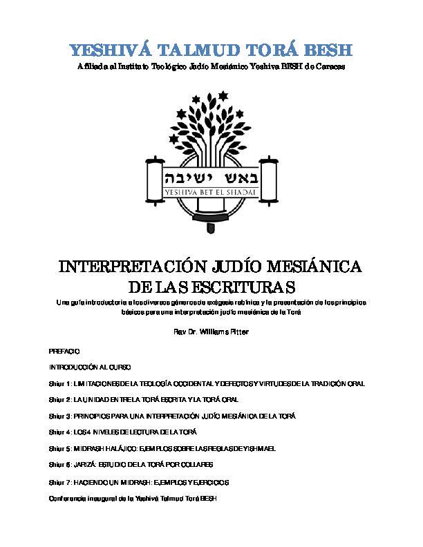 Pdf Interpretación Judío Mesiánica De Las Escrituras