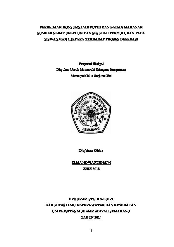 Doc Perbedaan Konsumsi Air Putih Dan Bahan Makanan Sumber Serat Sebelum Dan Sesudah Penyuluhan Pada Siswa Sman 1 Jepara Terhadap Proses Defekasi Proposal Skripsi Program Studi S I Gizi Elma Novia Academia Edu